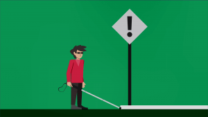 BAWA Cane detects overhanging (above–knee) obstacle such as signboards.