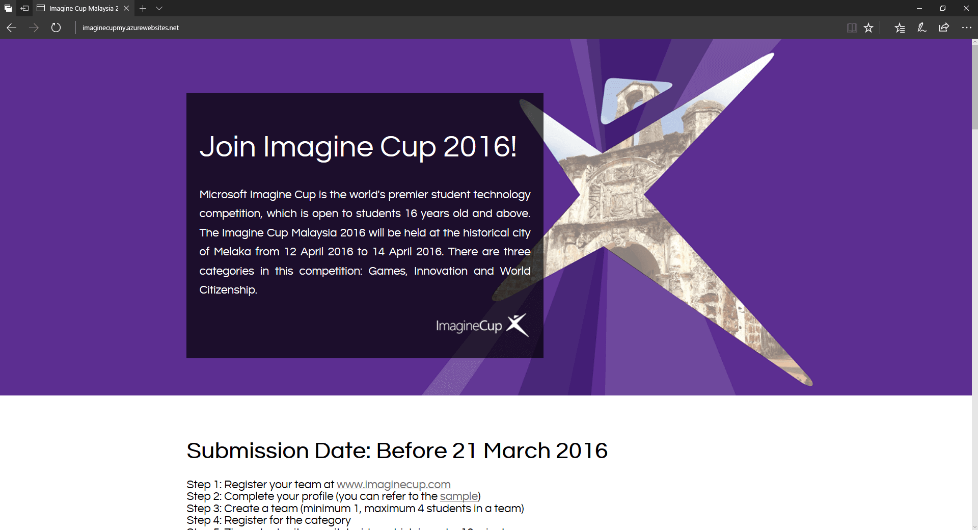 Microsoft Imagine Cup Malaysia 2016 Submission Website