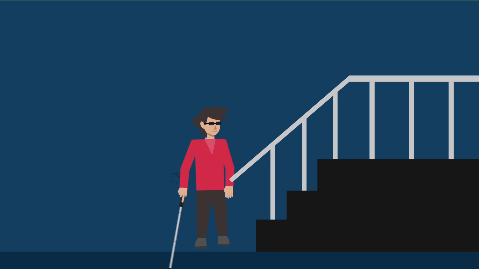 BAWA Cane detects even the smallest of obstacles like handrails of stairs.